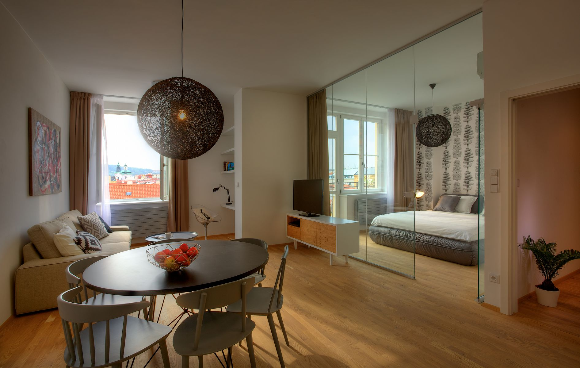Living Room With Bedroom, Glass Wall
